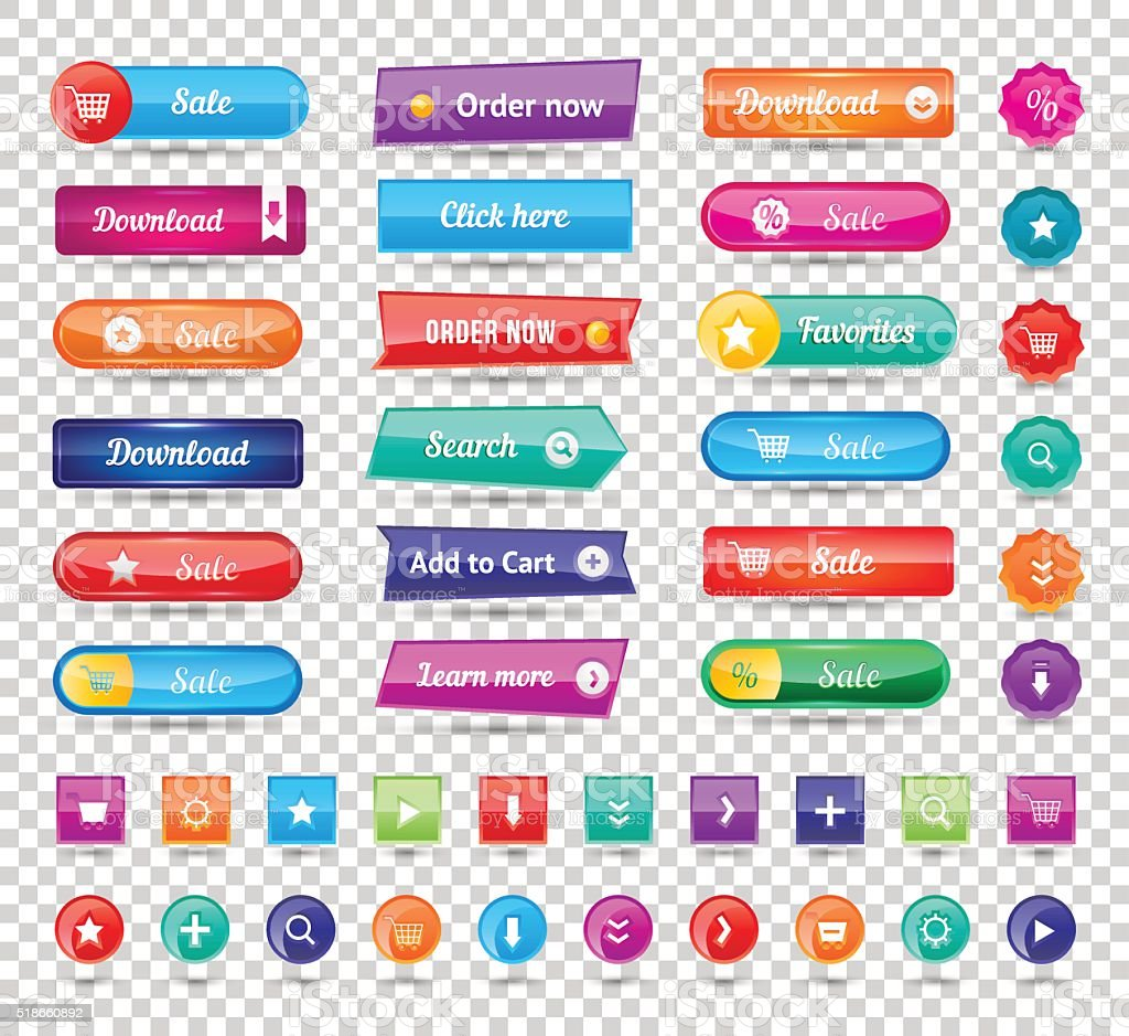 Colorful long round website buttons design vector illustration vector art illustration