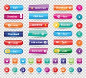 Colorful long round website buttons design vector illustration