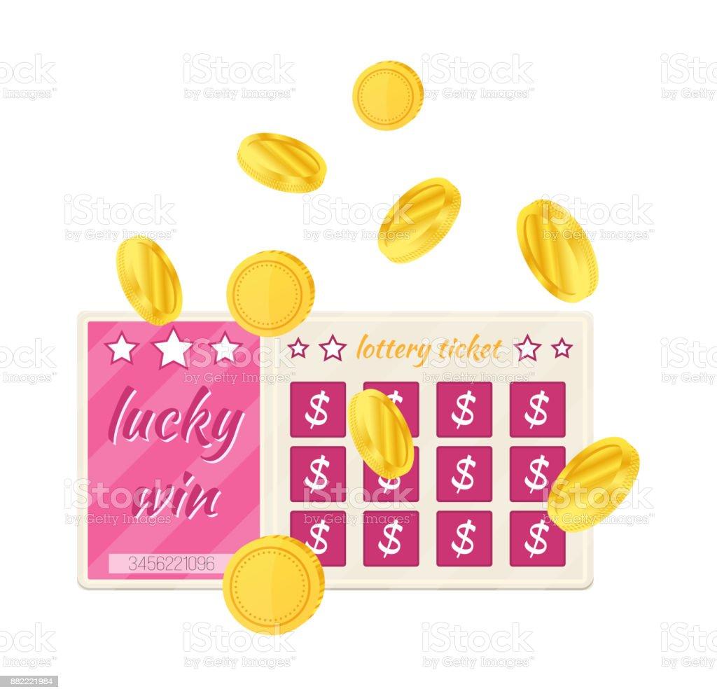 Colorful lottery tickets, entertainment program. Gambling, money making, roulette, finances vector art illustration