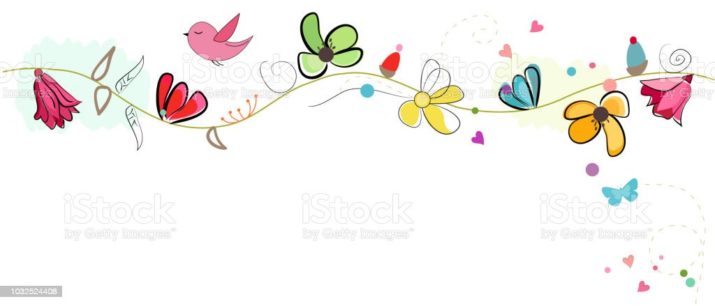 Colorful Lovely Spring Flowers Banner Stock Vector Art More Images