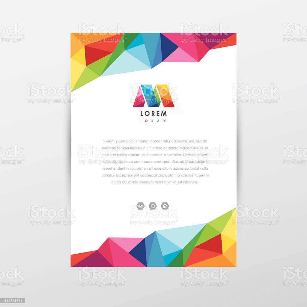 Colorful Low Poly Flyer Design Template Letterhead With Letter M ...
