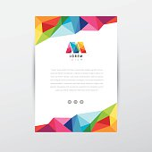 colorful low poly flyer design template letterhead with letter m