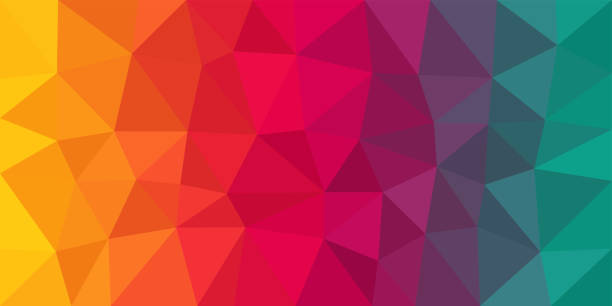 Colorful Low Poly Vector Background Colorful low poly vector gradient background. Polygonal texture, good as a cell phone, marketing material, or website backdrop. All polygons are in separate layers. two dimensional shape stock illustrations