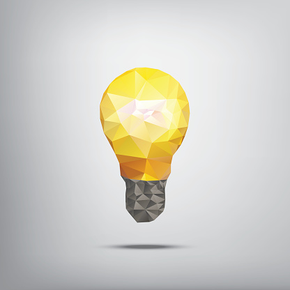 Colorful low polygonal light bulb concept symbol of creativity. Suitable
