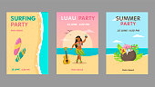 Colorful luau party invitation design set. Bright Hawaiian resort event invitations with text. Hawaii vacation and summer concept. Template for leaflet, banner or flyer