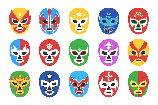 Colorful lucha libre mask for wrestling show isolated set