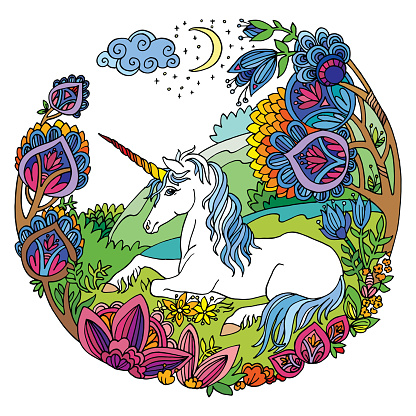 Colorful lying unicorn with flowers vector illustration
