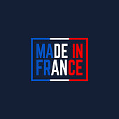 colorful made in france. concept of pride for national product or colored manufacture or shopping premium icon. flat simple style trend modern french graphic design on background