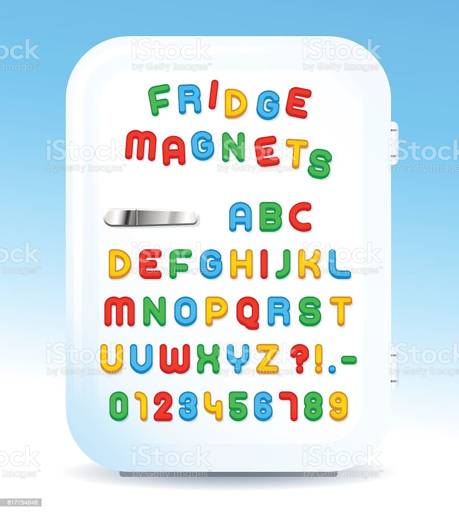 Colorful magnetic letters on refrigerator vector art illustration