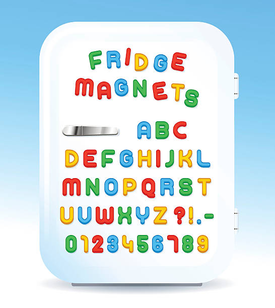 Colorful magnetic letters on refrigerator Colorful magnetic alphabet letters on refrigerator door, vector illustration refrigerator stock illustrations