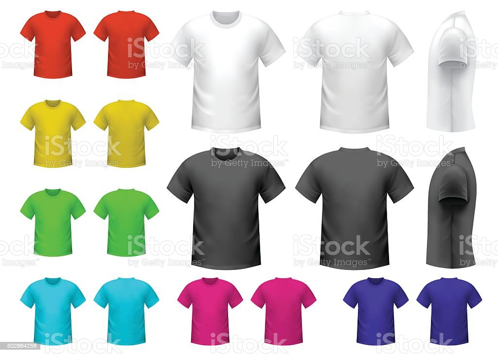Colorful male t-shirts vector art illustration