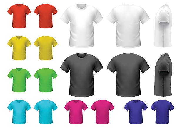 Coloridas camisetas macho - ilustración de arte vectorial
