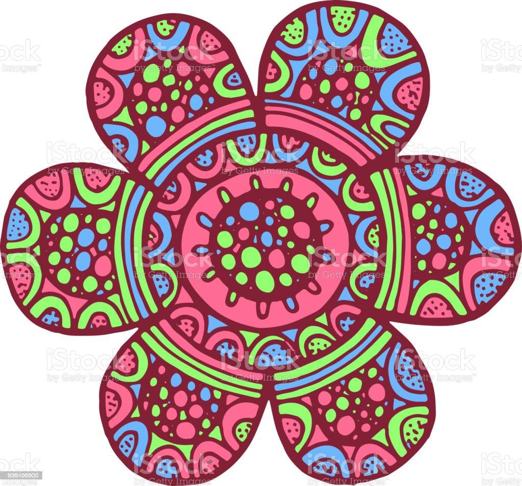 Vetores De Flor Mandala Colorida Doodle De Obras De Arte Dos