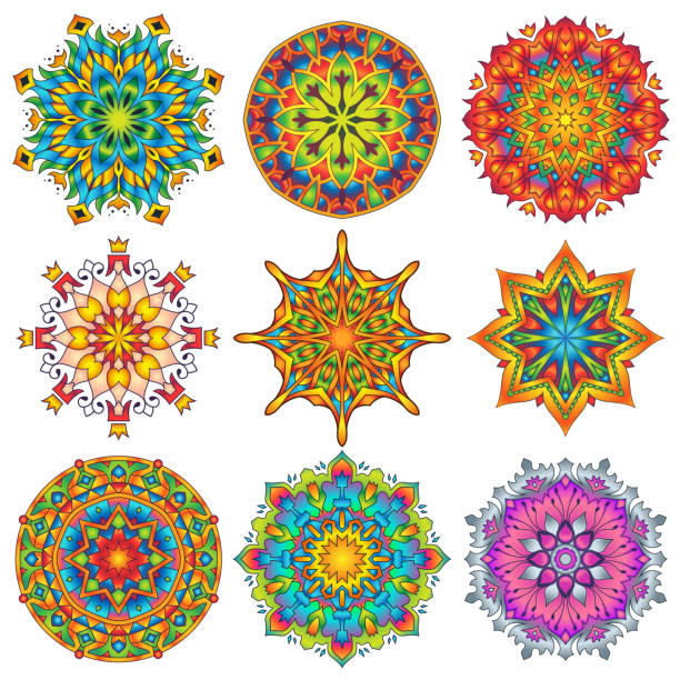 Colorful Mandala Ornament Designs 3 vector art illustration