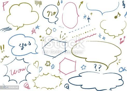 istock Colorful manga balloon motif set 1162899556