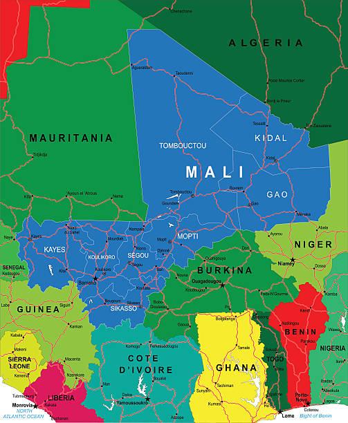 Colorful Map Of Africa With Mali Highlighted In Blue Stock ... on mali's map, mali map in color, mali gold, mali continent map, mali political, mali movement, sierra leone, mali europe map, mali geography, rwanda map, bamako mali map, mali economic, mali currency, burkina faso, mali map area, mali flag, mali on a map, mali france map, zimbabwe map, mali ebola, mali resource map, mali food,