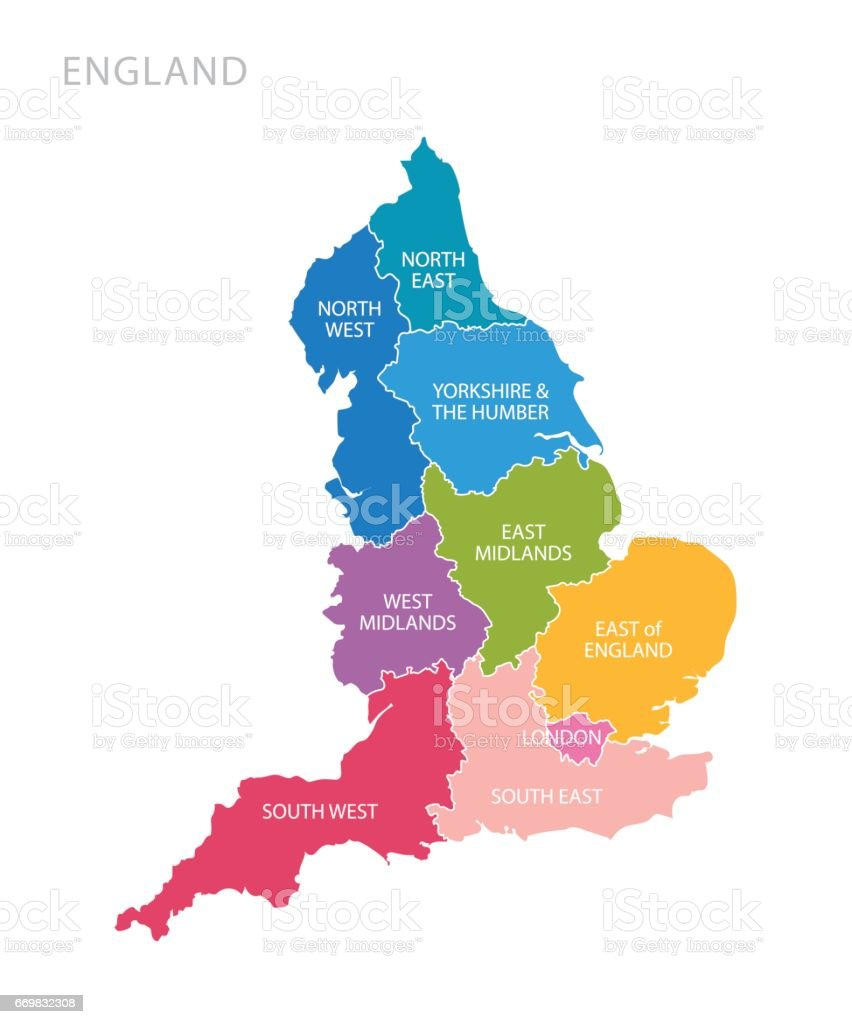 Map Of Uk Midlands.Colorful Map Of England With Counties Uk Stock Illustration