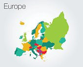 Colorful map of Europe background
