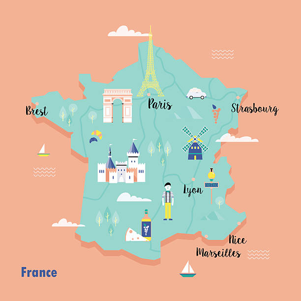 ilustraciones, imágenes clip art, dibujos animados e iconos de stock de colorful map of france in retro style with popular landmarks. - postal worker