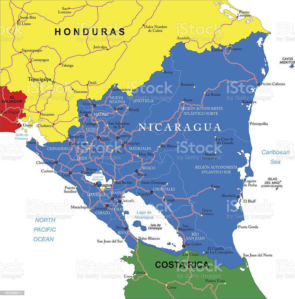 A Colorful Map Of Nicaragua Honduras And Costa Rica Stock Illustration Download Image Now Istock