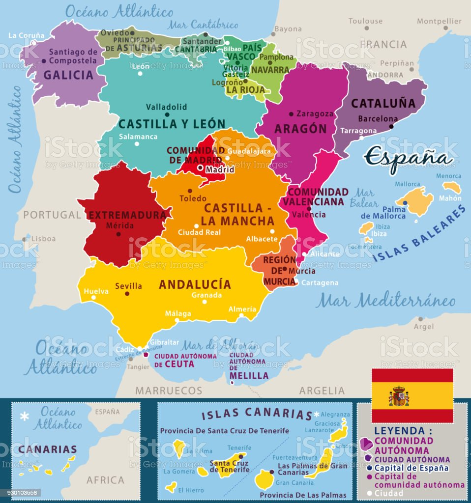 Map Of Spain And Surrounding Countries.Colorful Map Of Spain With Federal Countries And Important Cities
