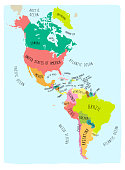 Colorful Map of the American Continent