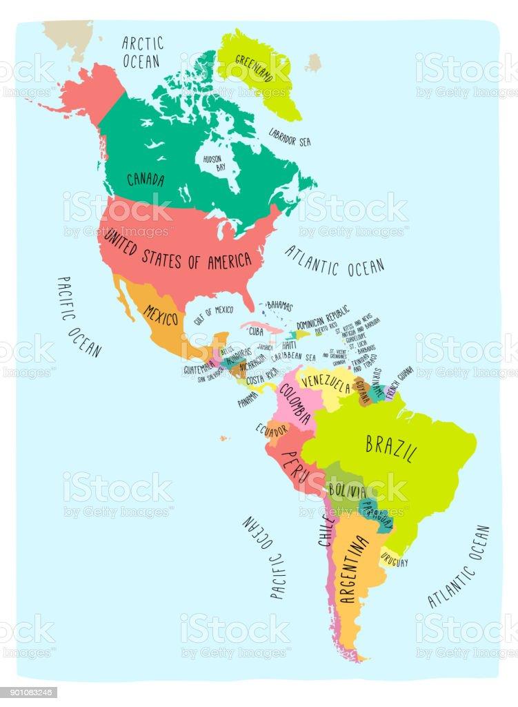Colorido mapa del continente americano - ilustración de arte vectorial