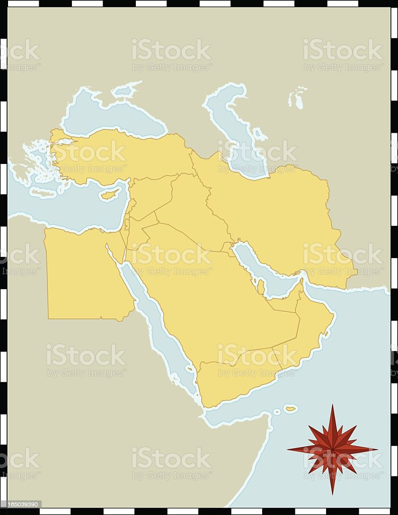 A Colorful Map Of The Middle East With No Labels Stock Vector Art