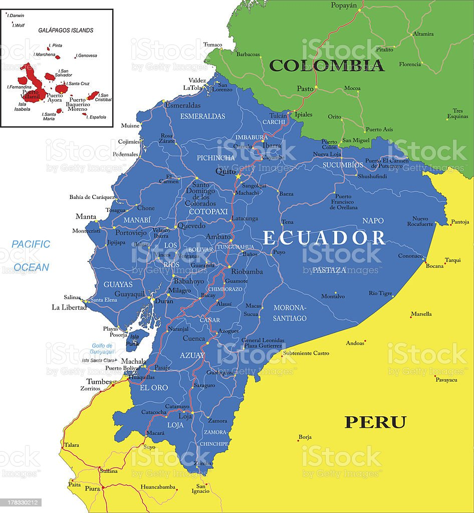 Colorful map of Western South America focusing on Ecuador vector art illustration