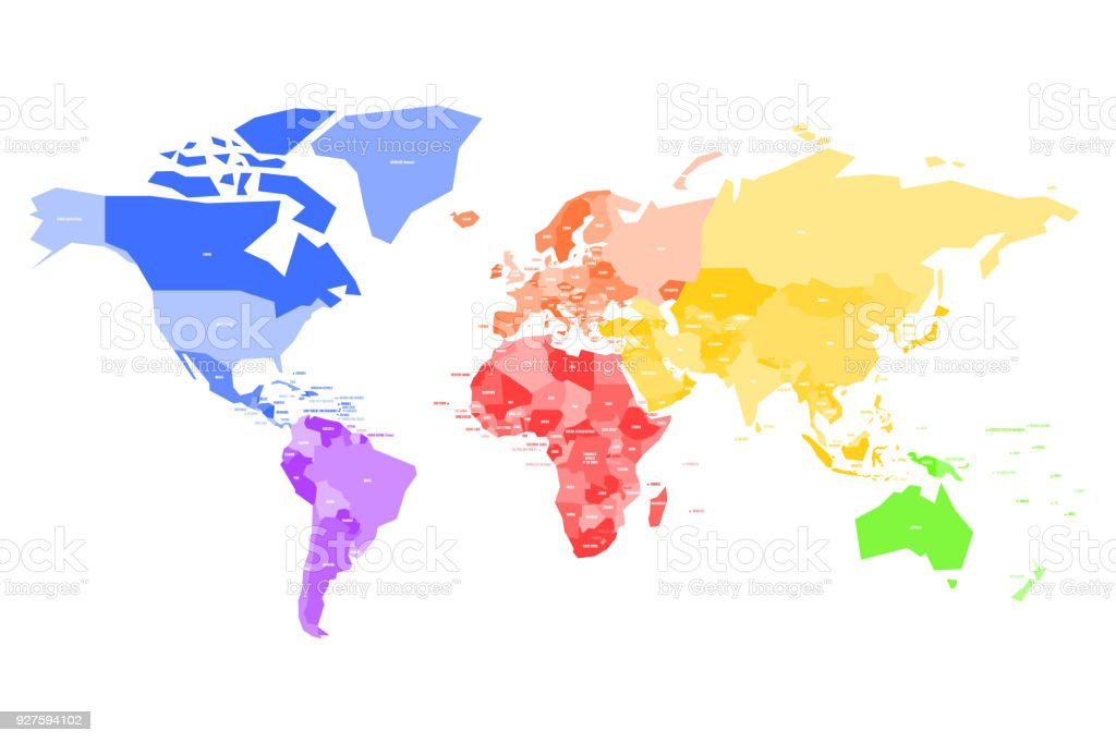 Colorful map of world simplified vector map with country name labels colorful map of world simplified vector map with country name labels royalty free colorful gumiabroncs Choice Image