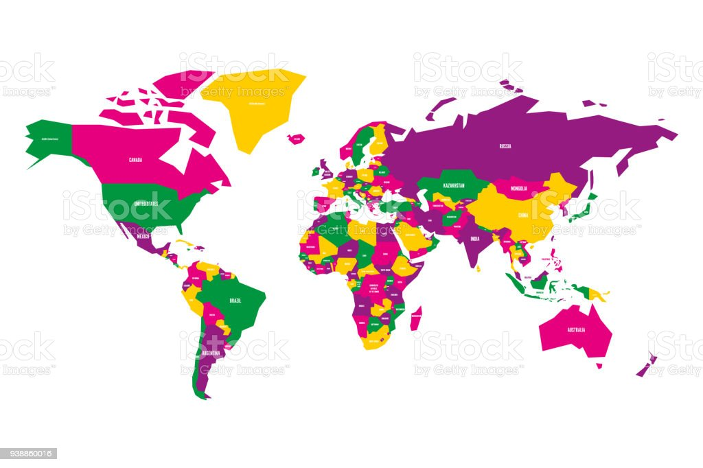 Colorful map of world simplified vector map with country name labels colorful map of world simplified vector map with country name labels royalty free colorful gumiabroncs Image collections