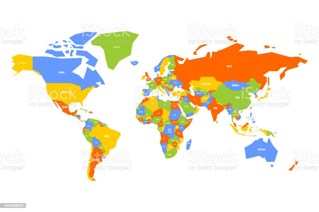 World Map With Country Labels.Colorful Map Of World Simplified Vector Map With Country Name Labels