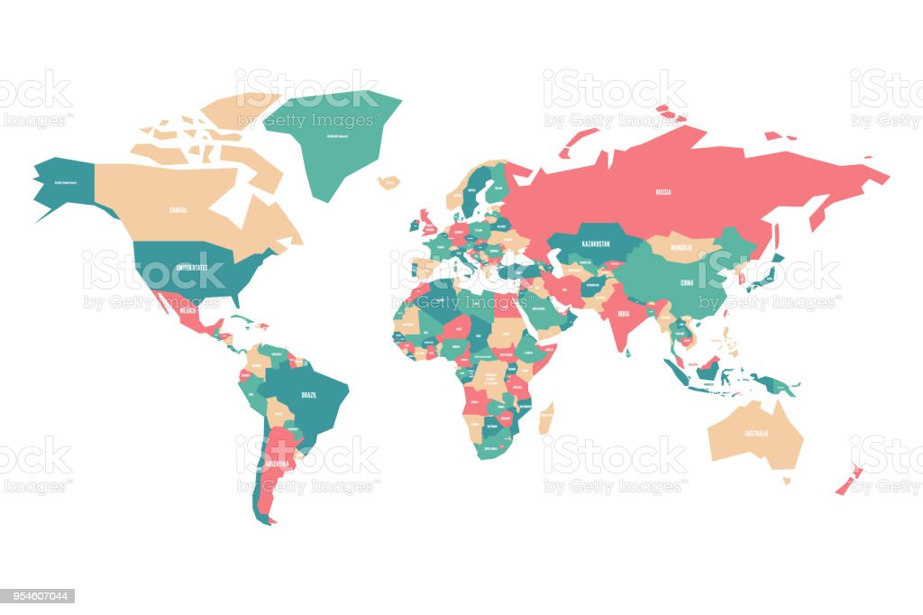 Colorful Map Of World Simplified Vector Map With Country Name Labels ...