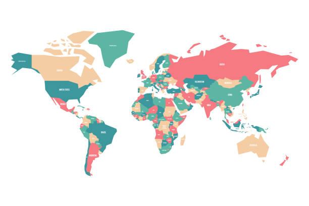 kolorowa mapa świata. uproszczona mapa wektorowa z etykietami nazw krajów - prostota stock illustrations