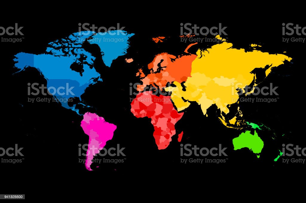 Colorful map of world vector political map with different colors of colorful map of world vector political map with different colors of each continent royalty gumiabroncs Choice Image