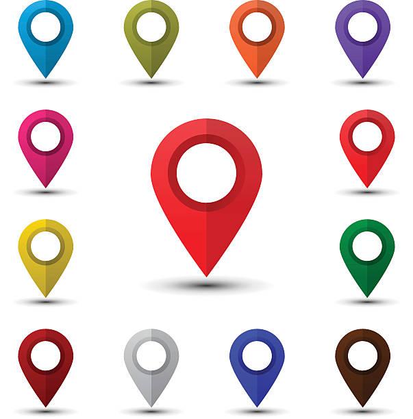 illustrations, cliparts, dessins animés et icônes de colorful map pointers - icônes orientation