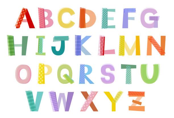 colorful masking tape alphabet The file is vector eps 10 illustration. masking tape stock illustrations