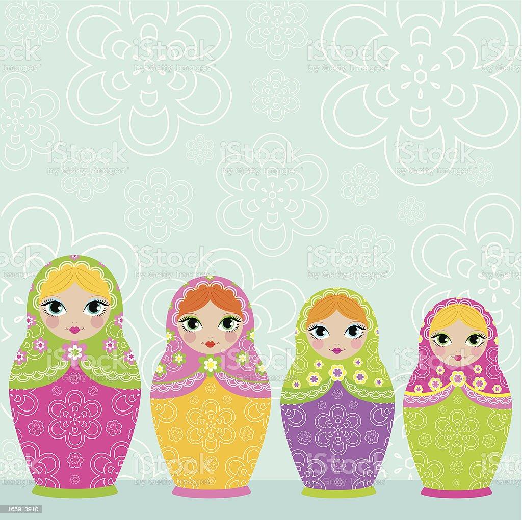 Colorful matrioska dolls royalty-free stock vector art