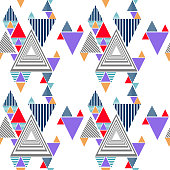 Colorful memphis triangle pattern background. Modern geometric abstract vector illustration ready for print.