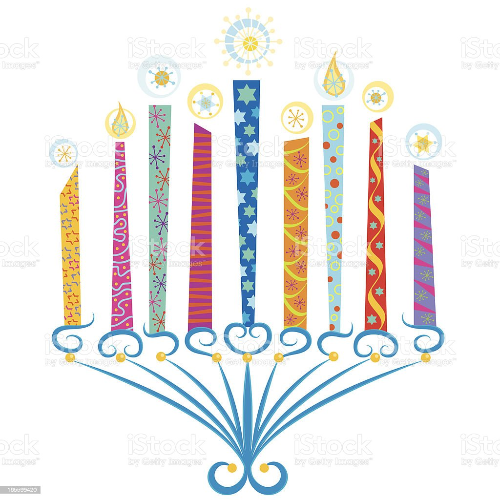 Colorful Menorah royalty-free stock vector art