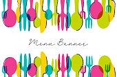 istock Colorful menu banner. Modern restaurant graphic. Business vector illustration. 1179639495