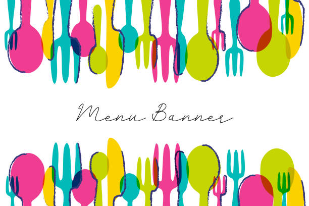 Colorful menu banner. Modern restaurant graphic. Business vector illustration. Colorful menu banner. Modern restaurant graphic. Business vector illustration cooking borders stock illustrations