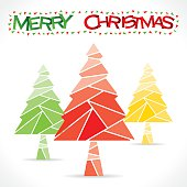 colorful merry chrismtas tree greeting design vector