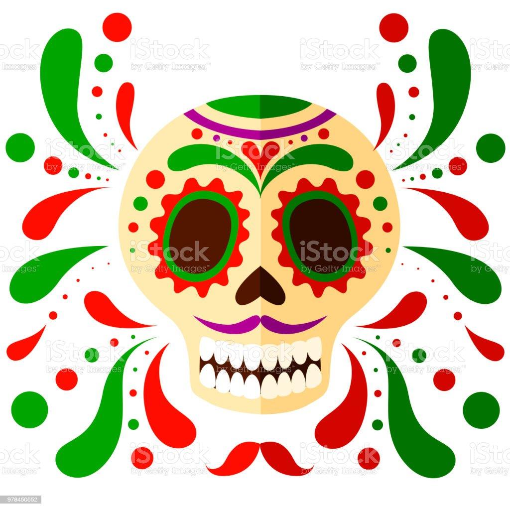 Ilustración De Máscara De Calavera Mexicana Colorido Día De Los