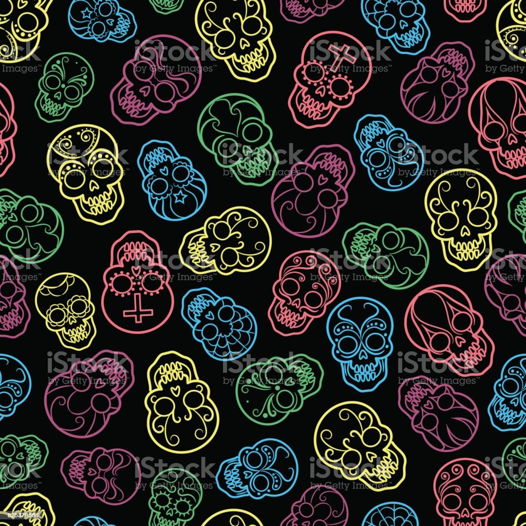 colorful mexican skulls seamless pattern stock vector art more