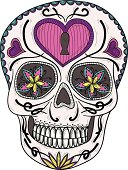 Colorful mexican sugar skull with flower and heart ornament.