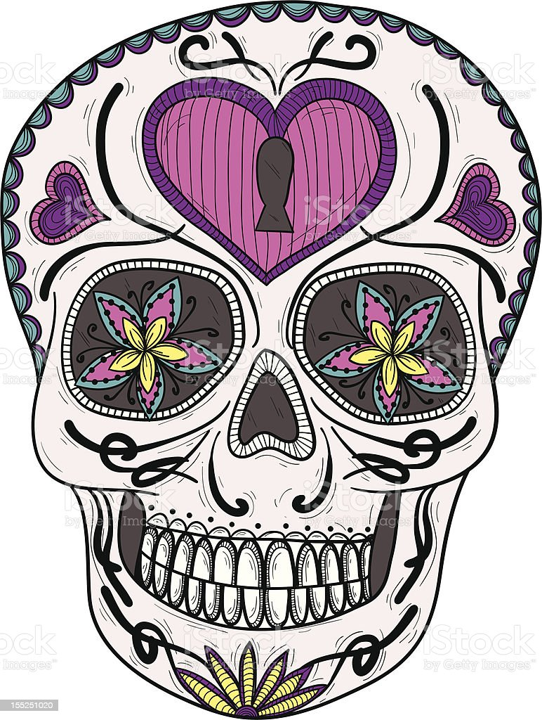 Colorful mexican sugar skull with flower and heart ornament. royalty-free stock vector art