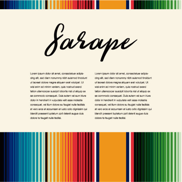 Colorful Mexican Traditional Sarape Composition – Copy Space Colorful Mexican Traditional Sarape Composition – Copy Space serape stock illustrations