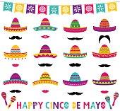 Colorful Mexican vector sombreros set