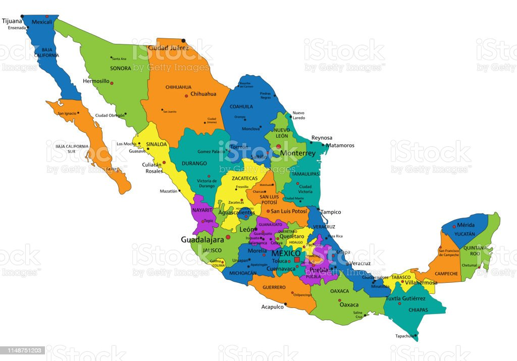 Picture of: Colorful Mexico Political Map Vector Illustration Stock Illustration Download Image Now Istock